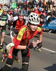 Angela Heinisch im Endspurt des Berliner Halbmarathons