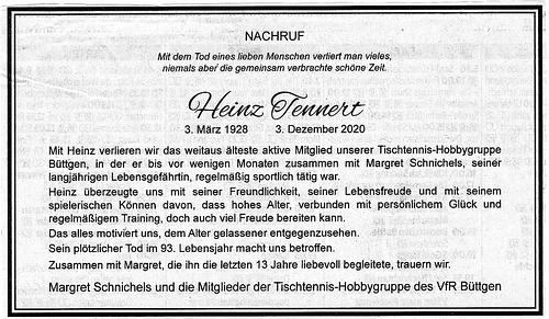 Nachruf Heinz Tennert (NGZ vom 17.12.2020)