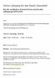 13.02.21: Online Lehrgang vom Bezirk Düsseldorf für Jahrgänge 2008 und 2009