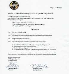Einladung zur außerordentlichen Mitgliederversammlung