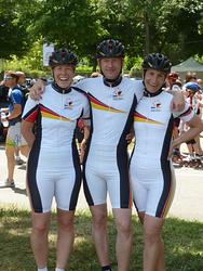 Silke Röhr, Andreas Lichtenstein, Silke Zimmermann bei der Masters WM 2011 in Dijon
