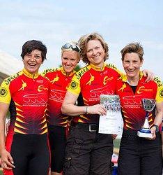 Die Speed-Ladies Düsseldorf: v.l. Helene Darnea, Eva Krüger, Britta Becker und Silke Zimmermann, es fehlt Silke Röhr