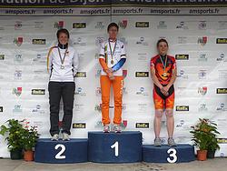 Siegerehrung EM AK30, v.l.: Silke Röhr, Karen Teuling, Celine Cognard